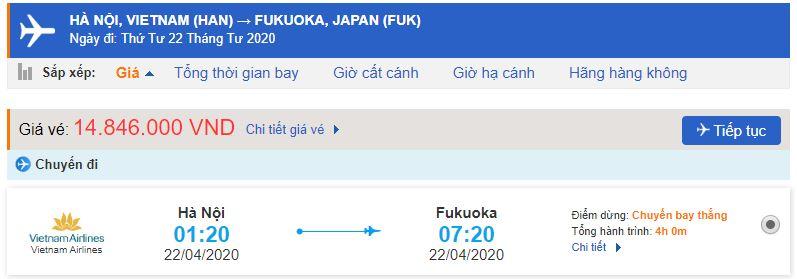 Vé máy bay đi Fukuoka Vietnam Airlines