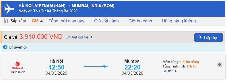 Giá vé máy bay Hà Nội Mumbai bao nhiêu?