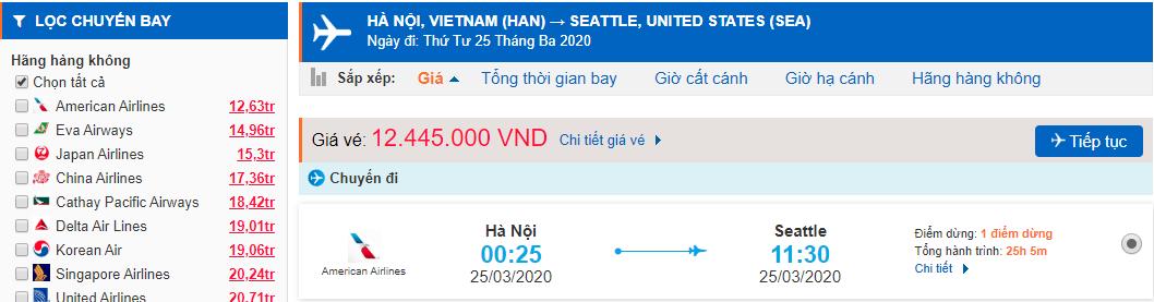 Vé máy bay từ Hà Nội đi Seattle