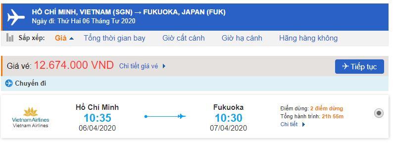 Giá vé máy bay từ TPHCM đi Fukuoka