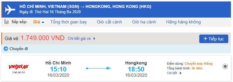 Vé máy bay từ TPHCM đi Hong Kong bao nhiêu?