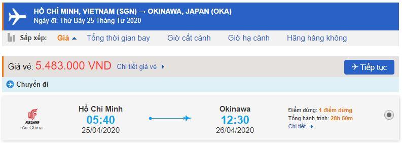 Vé máy bay giá rẻ từ TPHCM đi Okinawa