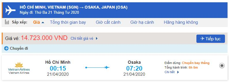 Giá vé máy bay từ TPHCM đi Osaka
