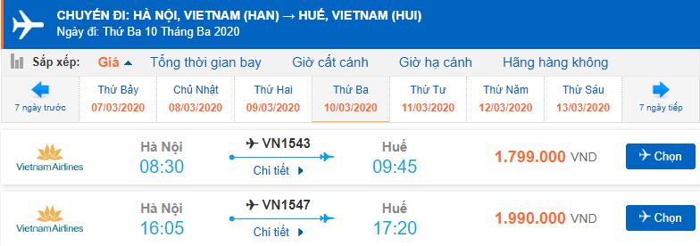 Vé máy bay đi Huế Vietnam Airlines bao nhiêu tiền?