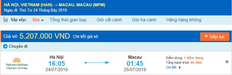Vé máy bay đi Macau từ Hà Nội