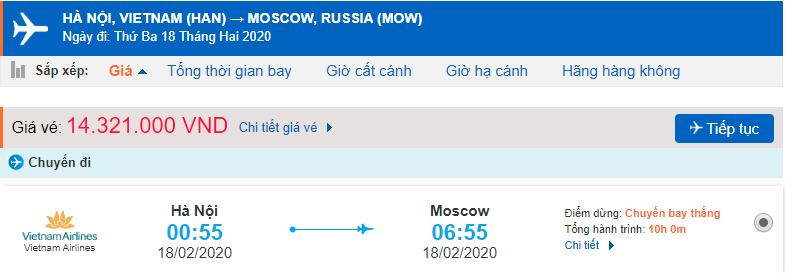 Giá vé máy bay Vietnam Airlines đi Nga