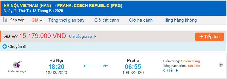 Giá vé máy bay đi Prague Qatar Airways