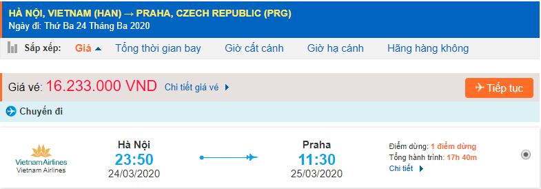 Vé máy bay đi Cộng hòa Séc Vietnam Airlines