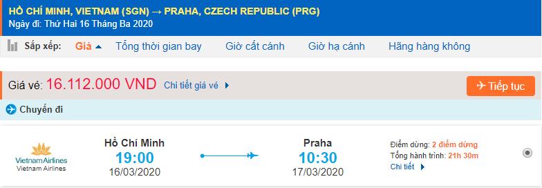 Giá vé máy bay đi Cộng Hòa Séc từ Hồ Chí Minh