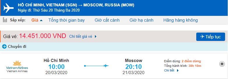 Giá vé máy bay từ TPHCM đi Moscow