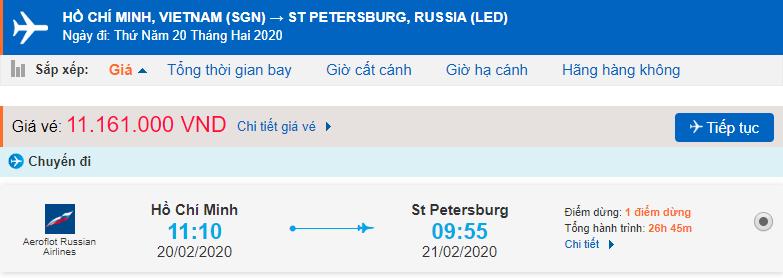Giá vé máy bay từ TPHCM đi Saint Petersburg