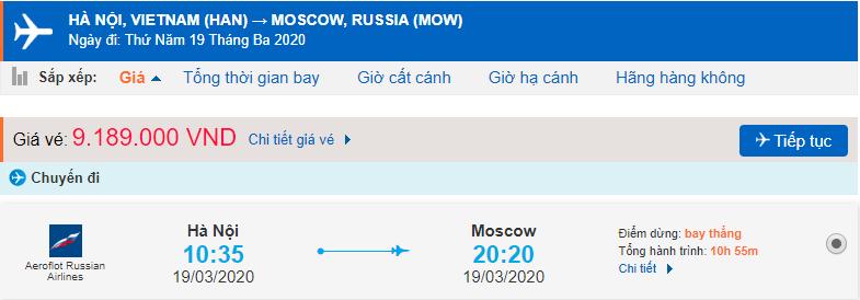 Giá vé từ Sài Gòn đi Moscow Aeroflot