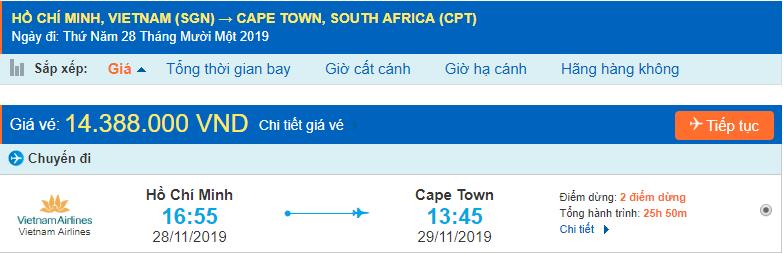Vé máy bay đi Cape Town từ Hồ Chí Minh