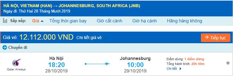 Vé máy bay đi Nam Phi từ Hà Nội