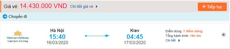 Giá vé máy bay đi Kiev Vietnam Airlines