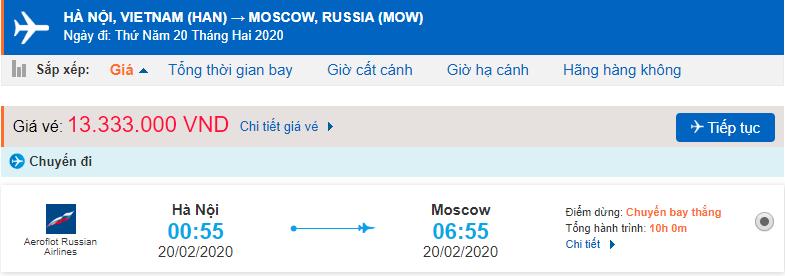 Vé máy bay từ Hà Nội đến Moscow Aeroflot