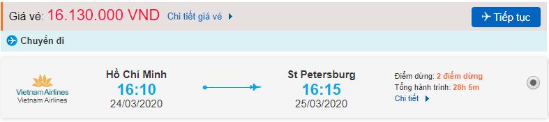 Vé máy bay từ TPHCM đi St Petersburg