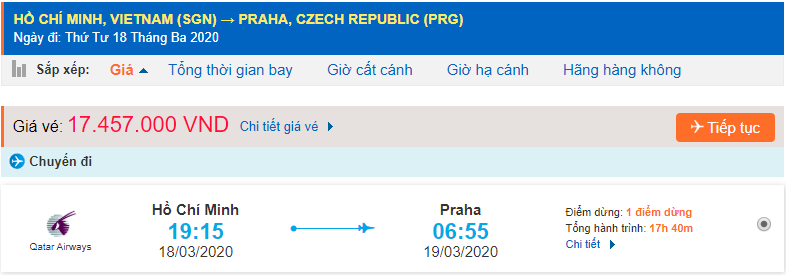 Vé máy bay từ TPHCMđi Prague Qatar Airways