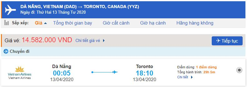 Giá vé máy bay Viet Nam đi Canada Toronto