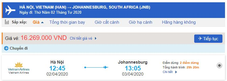 Vé máy bay đi Nam Phi Vietnam Airlines