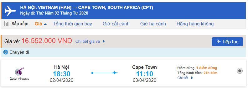 Vé máy bay Hà Nội đi Nam Phi Johannesburg