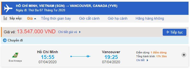 Vé máy bay đi Canada hãng Eva Air