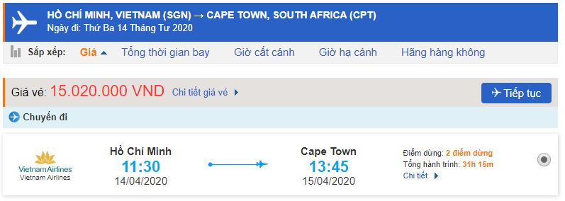 Giá vé máy bay Hồ Chí Minh đi Cape Town