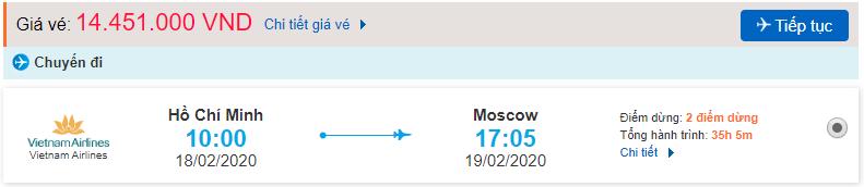 Giá vé máy bay đi Liên Bang Nga từ Hồ Chí Minh