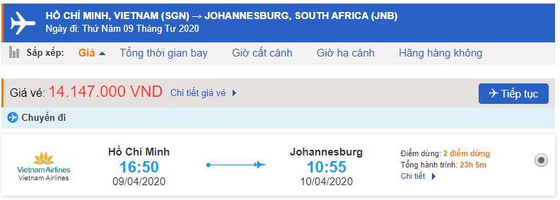 Vé máy đi Nam Phi từ Hồ Chí Minh