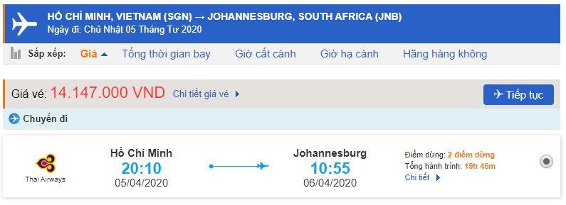 Vé máy bay giá rẻ từ TPHCM đi Johannesburg