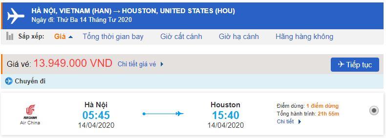 Giá vé máy bay từ Hà Nội đi Houston