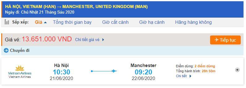 Giá vé máy bay Vietnam Airlines đi Manchester