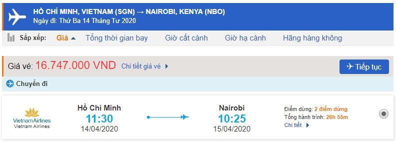 Giá vé máy bay từ Sài Gòn đi Kenya