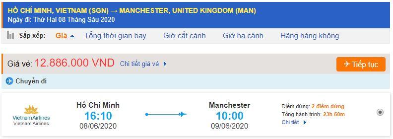 Vé máy bay từ TPHCM đi Manchester