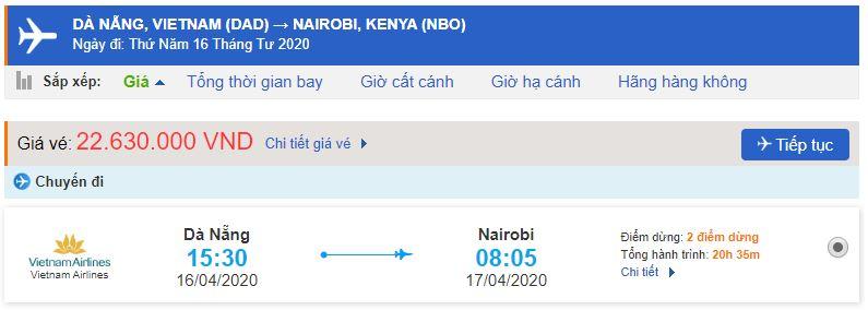 Vé máy bay Đà Nẵng đi Nairobi