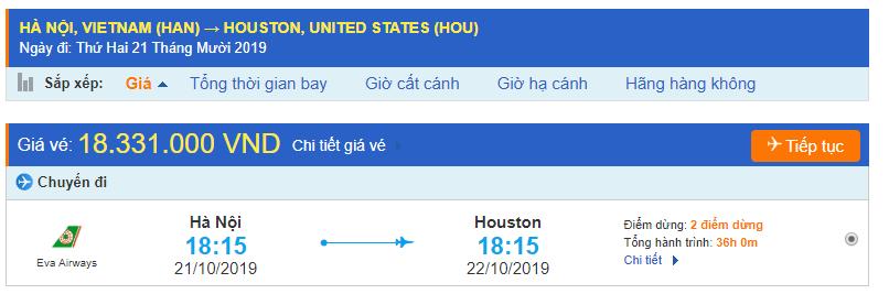 Vé máy bay Hà Nội đi Houston