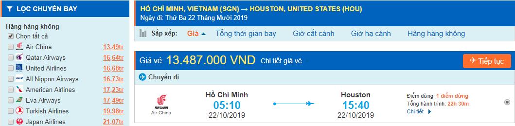 Vé máy bay đi Texas Houston từ Hồ Chí Minh