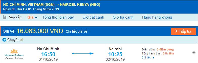 Vé máy bay đi Nairobi từ Hồ Chí Minh