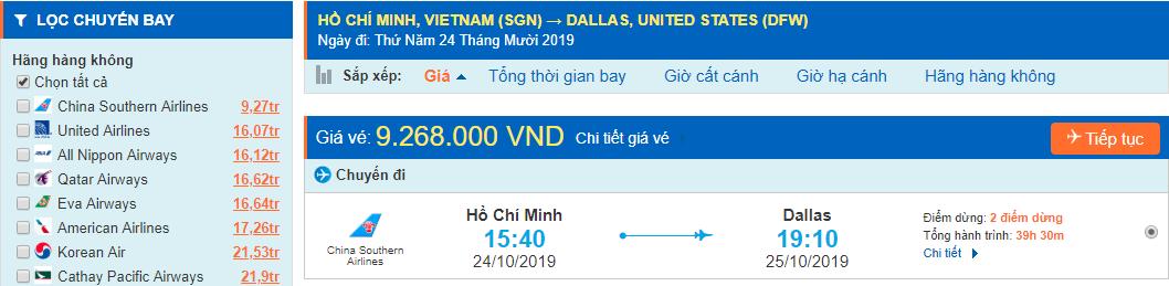 Vé máy bay đi Dallas Texas từ Hồ Chí Minh