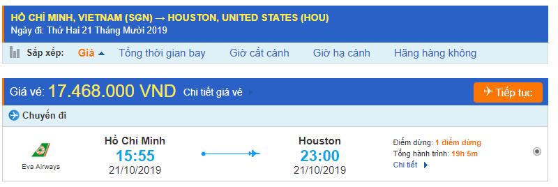 Vé máy bay Hồ Chí Minh đi Houston