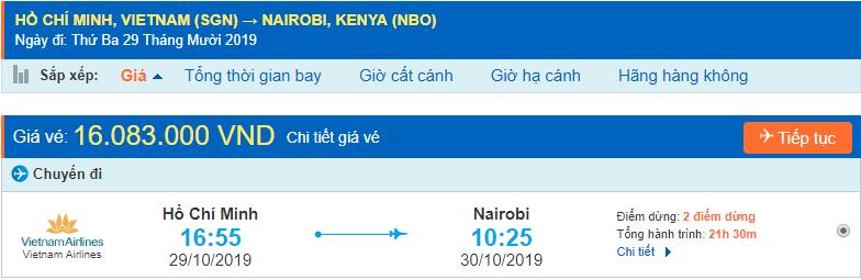 Vé máy bay đi Kenya từ Hồ Chí Minh