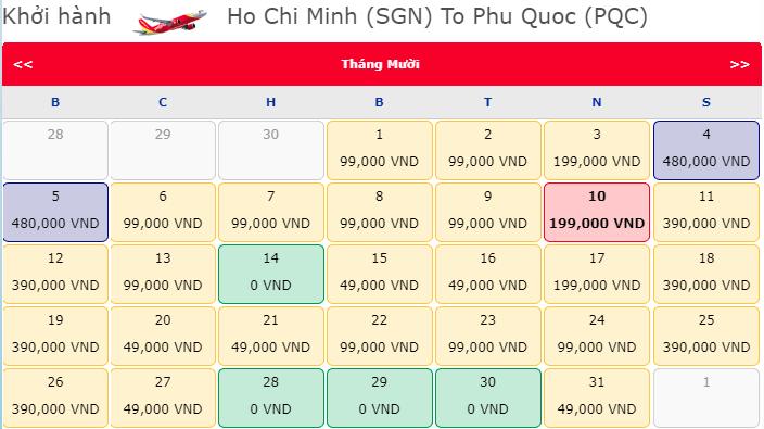 Vé máy bay khuyến mãi 0 Đồng hành trình Hồ Chí Minh đi Phú Quốc