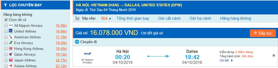 Vé máy bay đi Dallas Texas từ Hà Nội