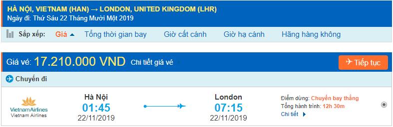 Vé máy bay đi London từ Hà Nội