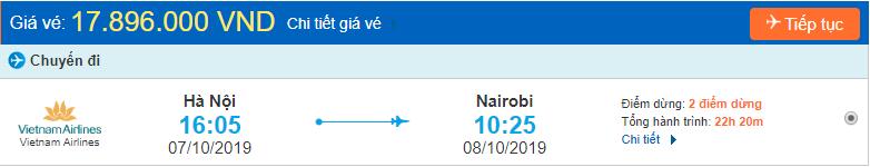 Vé máy bay đi Nairobi từ Hà Nội