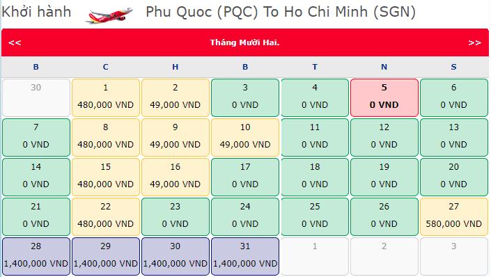 Vé khuyến mãi 0 đồng Vietjet từ Phú Quốc đến Hồ Chí Minh
