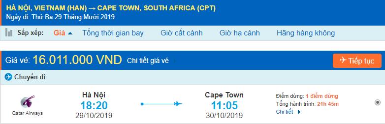Vé máy bay đi Cape Town từ Hà Nội