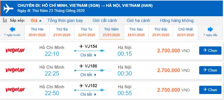 Vé máy bay Tết Sài Gòn Hà Nội Vietjet Air