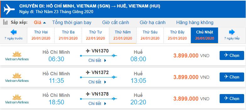 Vé máy bay Tết Sài Gòn Huế Vietnam Airlines