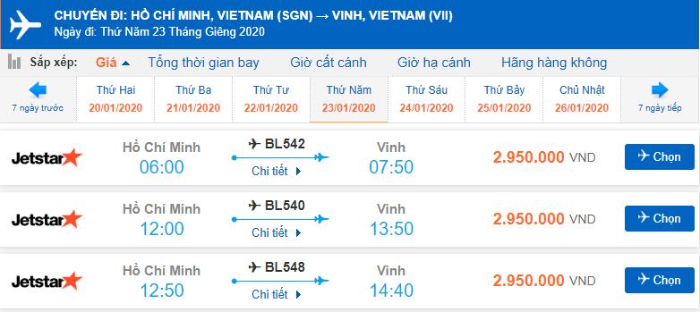 Vé máy bay Tết Sài Gòn Vinh Jetstar Pacific